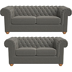 Debenhams - 3 seater and 2 seater natural grain leather 'Chesterfield' sofas