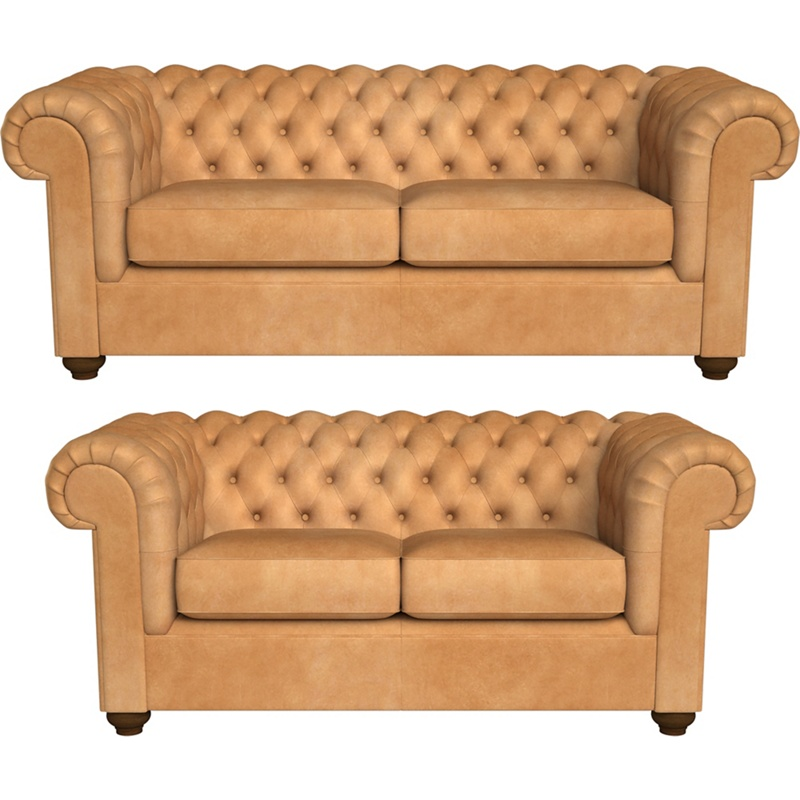 Debenhams 3 seater and 2 seater natural grain leather 'Chesterfield' sofas