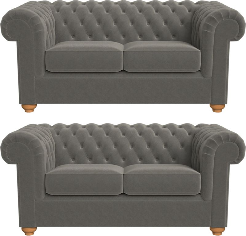 Debenhams Set of two 2 seater natural grain leather 'Chesterfield' sofas
