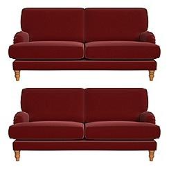 Debenhams - Set of two 3 seater velvet 'Eliza' sofas