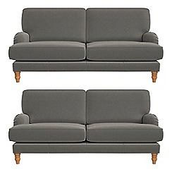 Debenhams - Set of two 3 seater natural grain leather 'Eliza' sofas
