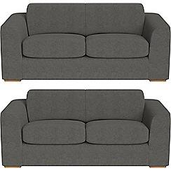 Debenhams - Set of two 3 seater tweedy fabric 'Jackson' sofas