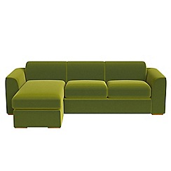 Debenhams - Velvet 'Jackson' left-hand facing chaise corner sofa