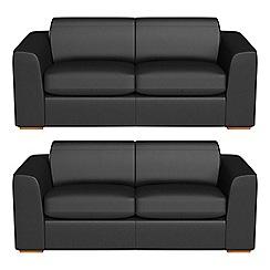 Debenhams - Set of two 3 seater luxury leather 'Jackson' sofas