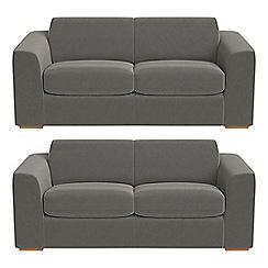 Debenhams - Set of two 3 seater natural grain leather 'Jackson' sofas