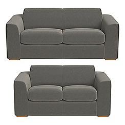 Debenhams - 3 seater and 2 seater natural grain leather 'Jackson' sofas