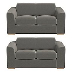 Debenhams - Set of two 2 seater natural grain leather 'Jackson' sofas