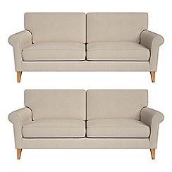 Debenhams - Set of two 3 seater tweedy fabric 'Arlo' sofas