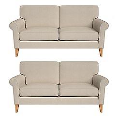 Debenhams - Set of two 2 seater tweedy fabric 'Arlo' sofas