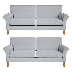 Debenhams - Set of two 3 seater brushed cotton 'Arlo' sofas