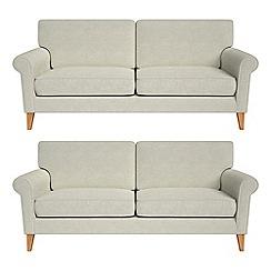 Debenhams - Set of two 3 seater brushed cotton 'Arlo' sofas