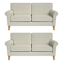 Debenhams - Set of two 2 seater brushed cotton 'Arlo' sofas