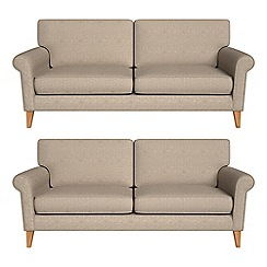 Debenhams - Set of two 3 seater textured weave 'Arlo' sofas