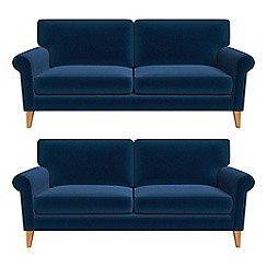 Debenhams - Set of two 3 seater velvet 'Arlo' sofas
