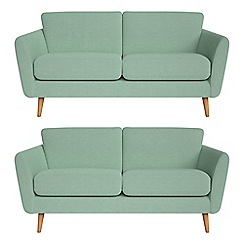 Debenhams - Set of two 2 seater flat weave fabric 'Isabella' sofas