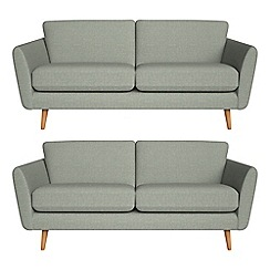 Debenhams - Set of two 3 seater textured weave 'Isabella' sofas