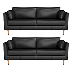 RJR.John Rocha - Set of two 3 seater luxury leather 'Ravello' sofas
