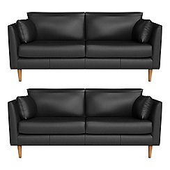 RJR.John Rocha - Set of two 2 seater luxury leather 'Ravello' sofas