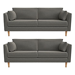 RJR.John Rocha - Set of two 3 seater natural grain leather 'Ravello' sofas