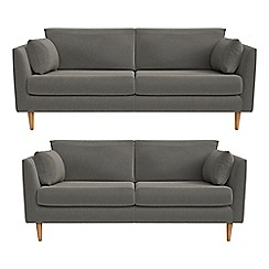 RJR.John Rocha - 3 seater and 2 seater natural grain leather 'Ravello' sofas