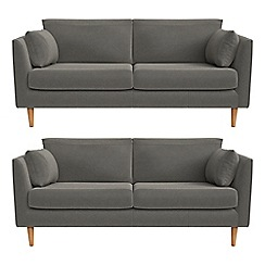 RJR.John Rocha - Set of two 2 seater natural grain leather 'Ravello' sofas