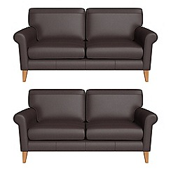 Debenhams - Set of two 2 seater luxury leather 'Arlo' sofas