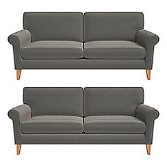 Debenhams - Set of two 3 seater natural grain leather 'Arlo' sofas