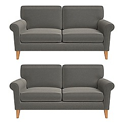 Debenhams - Set of two 2 seater natural grain leather 'Arlo' sofas