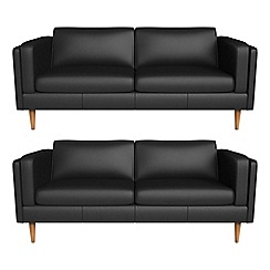 Debenhams - Set of two 3 seater luxury leather 'Lille' sofas