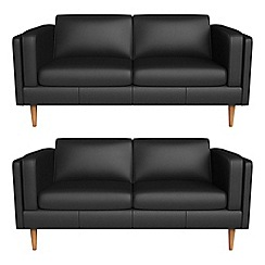 Debenhams - Set of two 2 seater luxury leather 'Lille' sofas