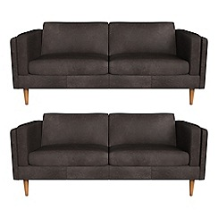 Debenhams - Set of two 3 seater natural grain leather 'Lille' sofas