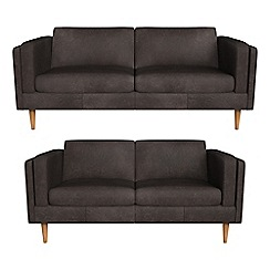 Debenhams - 3 seater and 2 seater natural grain leather 'Lille' sofas