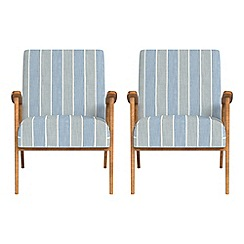 Debenhams - Set of 2 striped brushed cotton 'Kempton' armchairs