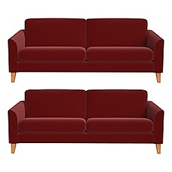 Debenhams - Set of two 3 seater velvet 'Carnaby' sofas