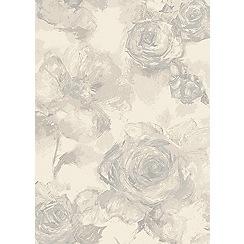 Debenhams - Light grey 'Echo' floral rug