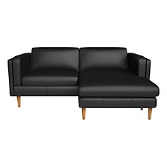 Debenhams - Luxury leather 'Lille' right-hand facing chaise corner sofa