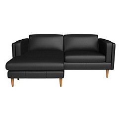 Debenhams - Luxury leather 'Lille' left-hand facing chaise corner sofa