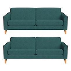 Debenhams - Set of two 3 seater velour 'Carnaby' sofas