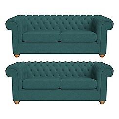 Debenhams - Set of two 3 seater velour 'Chesterfield' sofas