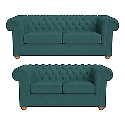 Debenhams - 3 seater and 2 seater velour 'Chesterfield' sofas