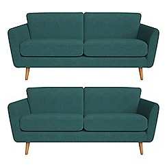Debenhams - Set of two 3 seater velour 'Isabella' sofas