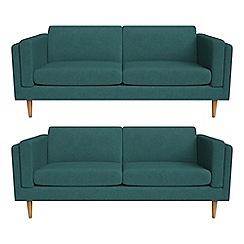 Debenhams - Set of two 3 seater velour 'Lille' sofas