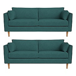 RJR.John Rocha - Set of two 3 seater velour 'Ravello' sofas