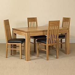 Debenhams - Oak 'Kent' small extending table and 6 slatted back chairs
