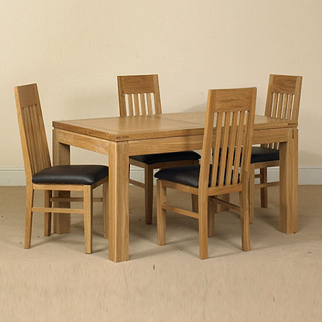 Debenhams - Oak +Kent+ small extending table and 6 slatted back chairs