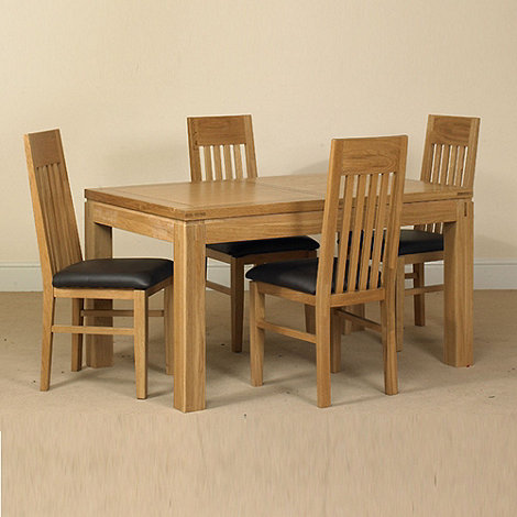 Debenhams - Oak +Kent+ small extending table and 4 slatted back chairs