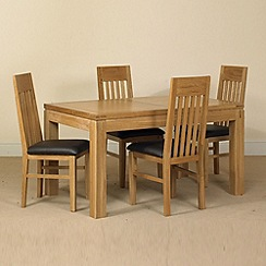 Debenhams - Oak 'Kent' large extending table and 6 slatted back chairs