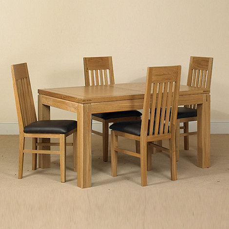 Debenhams - Oak +Kent+ large extending table and 6 slatted back chairs