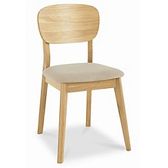 Debenhams - Pair of American oak 'Saturn' dining chairs with beige fabric seat pads