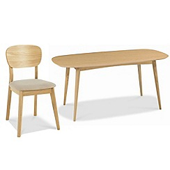 Debenhams - American oak finished 'Saturn' fixed-top table and 4 chairs
